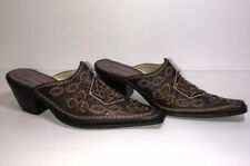 Dollhouse Brown Leather Pointy Toe Mule Pumps Slip Ons Sz 7