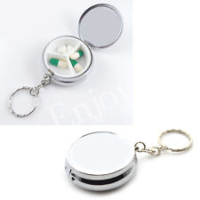 Pill Boxes Capsule Cases Keychain Keyring Mini Storage Box Circular Portable New