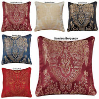 """LUXURY JACQUARD STYLISH FLORAL DAMASK CUSHION COVERS OR FILLLED 18""""x18"""" INCHES"""