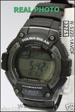 W-S220-1A 120 Lap Memory Casio Watch Tough Solar Sporty Black WS-220-1