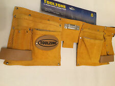 11 POCKET DOUBLE LEATHER TOOL STORAGE POUCH /BELT / DIY