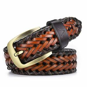 New Tan and Brown Leather Braided Men's Hand Woven Belt Gift Item