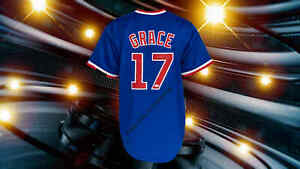 MARK GRACE AUTOGRAPHED CUSTOM CHICAGO CUBS BLUE JERSEY PSA  AUTHENTICATED
