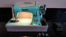 Vintage Nesco Deluxe Precision Green Turquoise Sewing Machine + Foot Pedal JAPAN