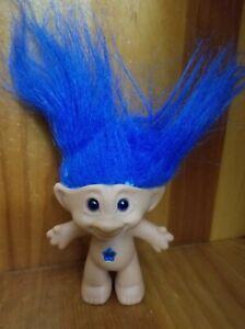 Vintage Treasure Trolls Doll Blue Hair & Star (Galoob, 1998) Troll Toy