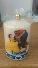 1 small cream Beauty and the Beast personalised candle