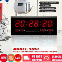 Digital Large Big Jumbo LED Wall Desk  ALARM Clock With Calendar Temperature Hot