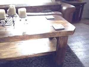 A custom made Paimpol solid reclaimed timber chunky coffee table