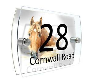 House Sign plaque Door Number Glass effect Acrylic #D189 Horse
