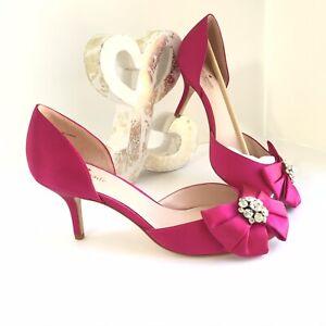 Kate Spade Santarosa Peep Toe D'Orsay Pumps Heels Pink Satin Jeweled Sz 9