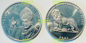 Congo 1 franc 2004 the Pope & Lion 25mm steel coin UNC