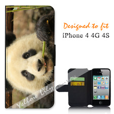 Apple iPhone 4 4G 4S Wallet Flip Phone Case Cover Panda Face Y00883