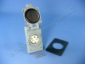New Leviton NEMA 6-15R Flanged Outlet Weather Resistant Cover 15A 250V 15679-CWP