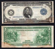5 Dollars Federal Reserve Bank BOSTON 1914  Large Size
