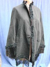 Vintage Victorian Black BUSTLE Cape Cloak Tassel Trim Antique Shawl S 1800s