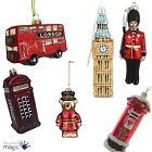 *Gisela Graham Christmas Glass Baubles Set London England Big Ben Queens Guard*