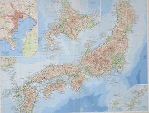 1958 LARGE MAP JAPAN TOKYO BAY HOKKAIDO SHIKOKU HIROSHIMAHONSHU FUKUSHIMA