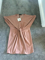 Missguided Womens Knot Front Dress Size 10 Ladies Pink Short Sleeve
