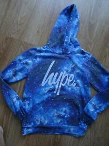 HYPE boys blue space print hooded sweatshirt jumper AGE 11 - 12 YEARS excellent
