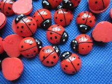 30 Cute Resin 15mm Flatback Ladybug Button-Red B153