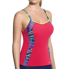 LADIES PINK PANACHE OPTIONAL RACER BACK SPORTS GYM FITNESS TOP SIZE 34D NEW