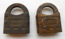(2) TWO Vtg Antique All Brass   EAGLE Lock Co Padlocks   From lot in picture