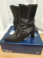 Gabor Ladies Mid Calf Boots Black Leather Heels Bow Dress Warm Lined UK Size 5.5