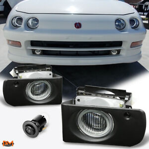 For 94-97 Acura Integra DC/DC2 JDM Race Clear Lens Fog Light/Lamp W/Switch+Wire