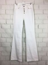 J BRAND Size 27? Flare Pants White Denim Bell bottom Button Fly Jeans Stretch