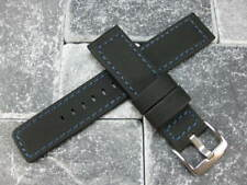 24mm PVC Composite Rubber Band Black Diver Watch Strap Marataac Blue PAM 1950