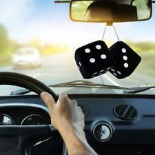 2x Fluffy Dice Black Car Mirror Novetly Accessory Decoration New O4S8