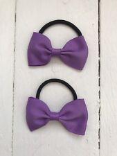 X2 Lilac Purple Bow Hair Bobble Hair Elastic Back to School Uniform Party