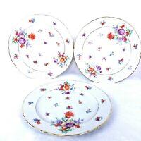 Lot 3 Schumann Bavaria Porcelain Dinner Plates Germany Floral Pattern Gold Trim