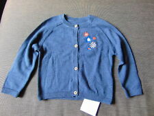 M&S 100%Cotton Fine Knitted Flower Embroidered Cardigan 3-6m 69cm Navy Mix BNWT