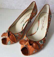 Bettye Muller Gazebo Pump Womens 37 6.5 Orange Floral Peep Toe Kitten Heel Bow