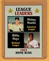 Home Run Leaders '55 Mickey Mantle & Willie Mays, Fan Club serial # /300