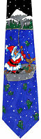 Fishing Santa Claus Mens Neck Tie Christmas Holiday Fisherman Xmas Blue Necktie