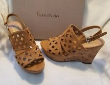 Franco Sarto Shea Camel Tan Suede Open Peep Toe Cork Wedge High Heel Shoe 11 $75