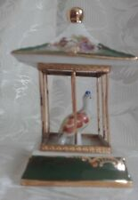 Rare Green Limoges Porcelain Miniature  Bird In A Cage Goudeville Limoges France
