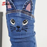 Cute Cat Kids Girls Baby Pants Toddler Jeans Trousers Children Winter/Spring