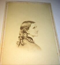 Antique Civil War American Gorgeous Woman Looking Back Curls Hairstyle CDV Photo