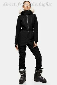 TOPSHOP SNO Black Hooded Ski Snow Suit  Sizes UK 4_6_8_10_12_14_16