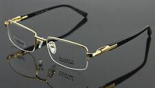 Luxury Pure Titanium Eyeglass Frame Gunmetal Half Rim Spectacles RX Able Glasses