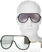 375fde36b69 GUCCI black frame GG 0199 S Vintage WEB mirror SHIELD Sunglasses NIB Authen   405