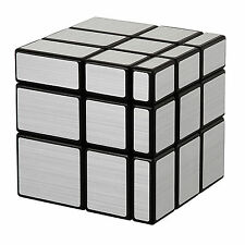 Shengshou 3 X 3 X3 Irregular Mirror Magic Cube Silver Twist Puzzle Smooth