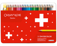 Caran d'Ache Swisscolor 30 Water Resistant Artist Colour Pencil Metal Tin Set