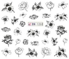Nail Art Stickers Water Decals Transfers Black Designs Flowers (BN1232)