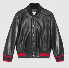 Gucci Boys Black Nappa Leather Bomber Jacket Sz 10 5830