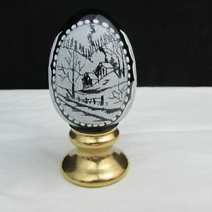 Fenton Black Winter Scene LE Hand Painted Egg on Stand W248