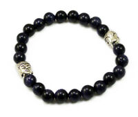8mm Blue Sun stone Gemstone Tibetan Buddha Head Prayer Beads Mala Bracelet